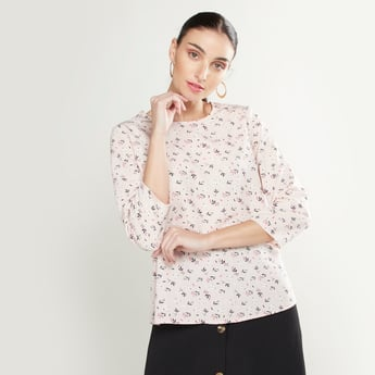 Printed Top with Round Neck and 3/4 Sleeves