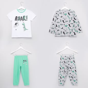 Set of 2 - Printed T-shirts with Full Length Jog Pants