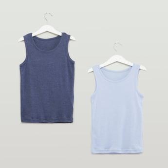 Set of 2 - Plain Sleeveless Vests with Round Neck
