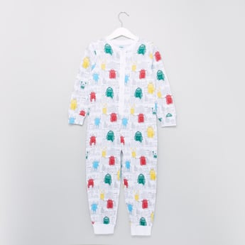 Printed Sleepsuit with Round Neck and Half Button Placket