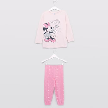 Minnie Mouse Printed T-shirt and Full Length Jog Pants Set