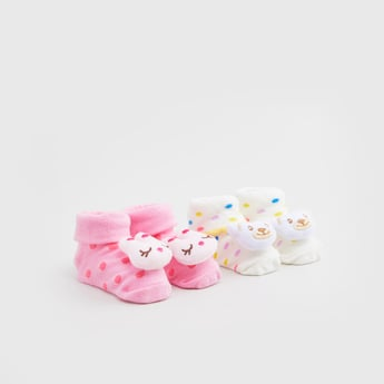 Set of 2 - Printed Ankle Length Socks with Applique Detail