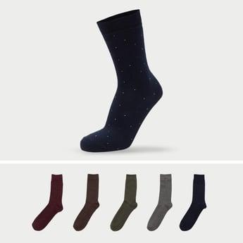جوارب بطول ربلة الساق وطبعات وأطراف مطّاطية - طقم من 5 قطع