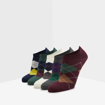 Set of 5 - Printed Ankle Length Socks with Cuffed Hem