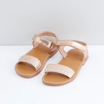 Weaved Detail Sandals with Hook and Loop Closure