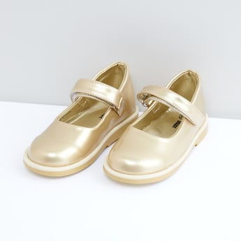 Metallic Shoes with Hook and Loop Closure