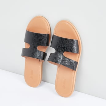 Metallic Slides with Textured and Cutout Detail Straps