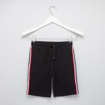 Tape Detailed Knitted Shorts with Drawstring Closure