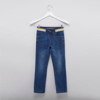 Full Length Embossed Detail Denim Pants with Drawstring Closure