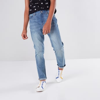Full Length Ribbed Jeans with Button Closure