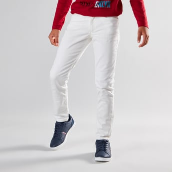 Full Length Textured Jeans with Pocket Detail and Belt Loops