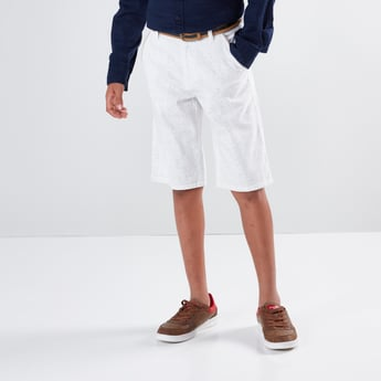 Pocket Detail Textured Shorts with Button Closure