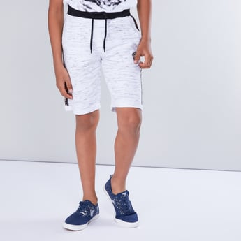 Textured Shorts with Tape Detail and Drawstring