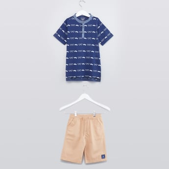 Printed Henley T-shirt with Short Sleeves and Shorts Set