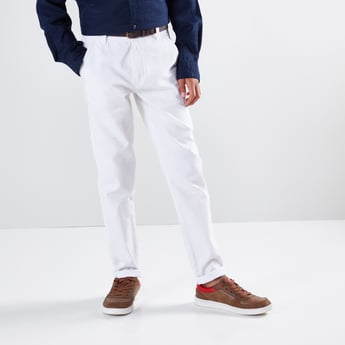 Pocket Detail Full Length Pants with Button Closure
