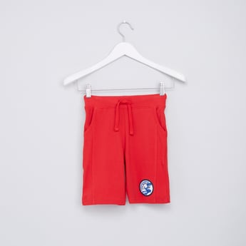 Textured Shorts with Applique Detail and Drawstring