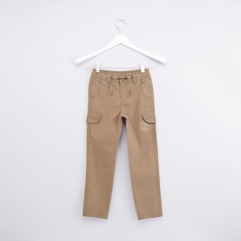 Solid Pant with 6-Pocket Detailing and Drawstring Closure