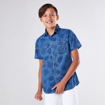 Printed Denim Shirt with Short Sleeves and Chest Pocket Detail