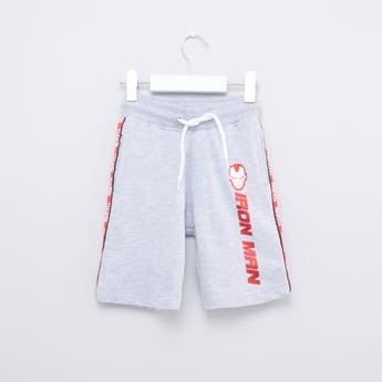 Iron Man Printed Shorts with Pocket Detailing Drawstring Closure