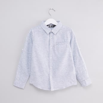 Striped Shirt with Long Sleeves and Welt Pocket