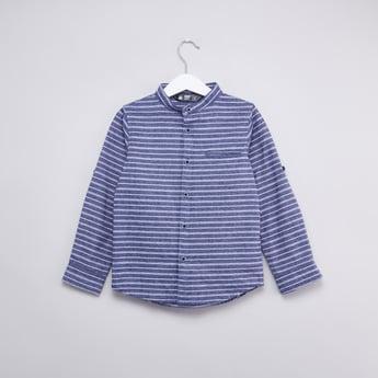 قميص ماندرين مخطط بأكمام طويلة وجيب فيلت