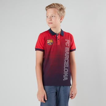 FC Barcelona Print Polo Neck T-shirt with Short Sleeves