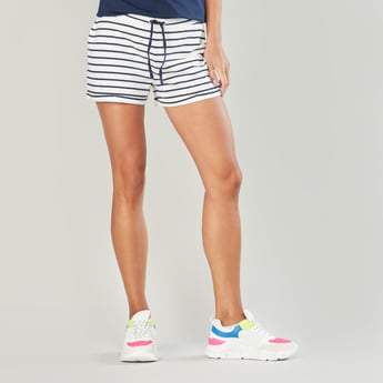 Striped Mid-Rise Shorts with Elasticised Waistband