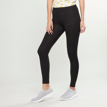 Solid High Rise Leggings with Elasticated Waistband