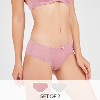 Set of 2 - Textured Bikini Briefs with Lace Detail