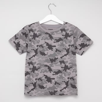 Camo Print Round Neck T-shirt with Short Sleeves