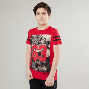 Avengers Printed T-shirt with Round Neck and Short Sleeves