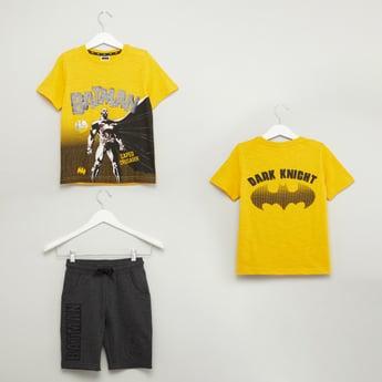 Batman Print Round Neck T-shirts and Shorts Set