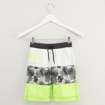 Printed Swim Shorts with Pocket Detail and Drawstring