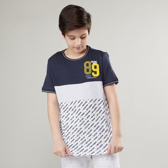 Printed Cut and Sew Round Neck T-shirt with Short Sleeves