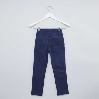 Plain Pants with Elasticised Waistband with Pocket Detail