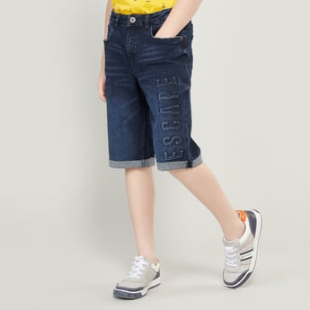 Embossed Denim Shorts with Belt Loops and Pocket Detail