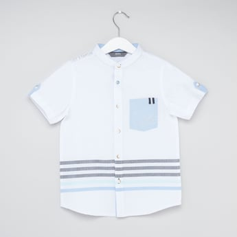 Striped Mandarin Collared Shirt with Short Sleeves and Patch Pocket