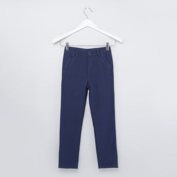 Textured Pants with Belt Loops and Pocket Detail