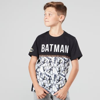 Batman Printed T-shirt with Round Neck and Short Sleeves