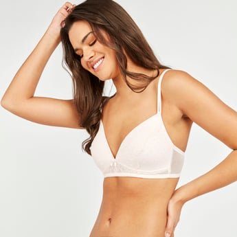 Textured Non-Wired T-shirt Bra with Lace Detail