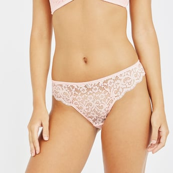Lace Bikini Briefs with Elasticised Waistband