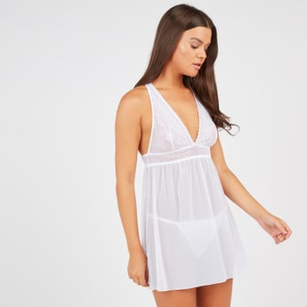 Lace Sleeveless Babydoll with Briefs
