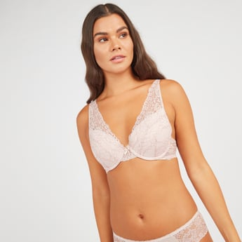 Lace Detail Padded Plunge Bra with Hook and Eye Closure