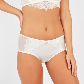 Textured Boyshorts Briefs with Lace Detail