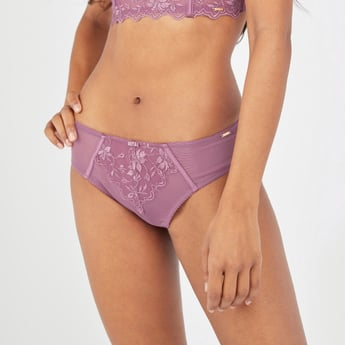 Textured Bikini Briefs with Elasticised Waistband