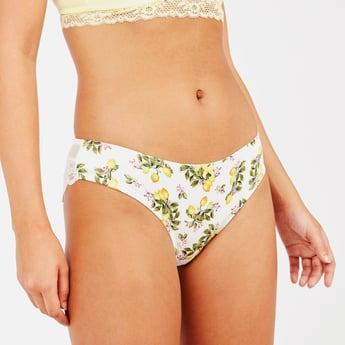 Printed Brazilian Briefs with Lace Detail