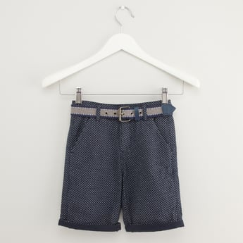 Printed Shorts with Pocket Detail and Belt