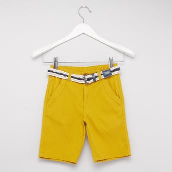 Textured Shorts with Woven-Textured Belt