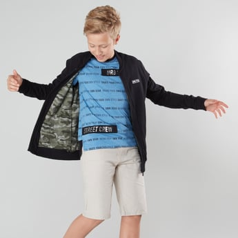 Graphic Print Bomber Jacket with Long Sleeves and Pocket Detail