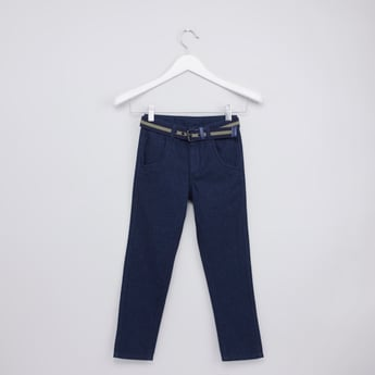 Full Length Textured Pants with Pocket Detail and Belt Loops